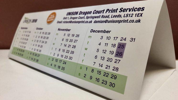 Bespoke Triangular Desktop Calendars 2019 Dragon Court Print Services
